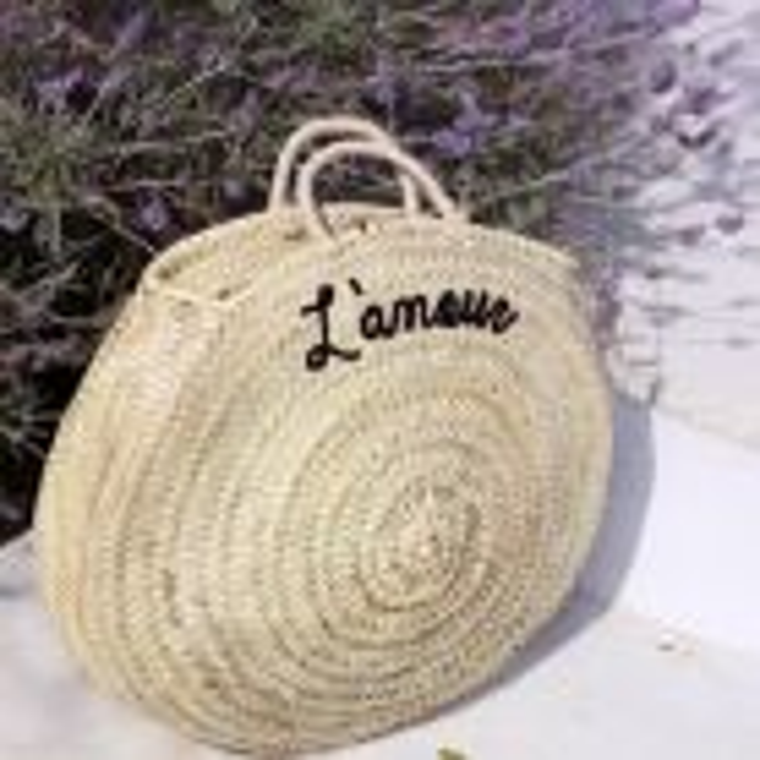Round Straw Bag L'amour - Black