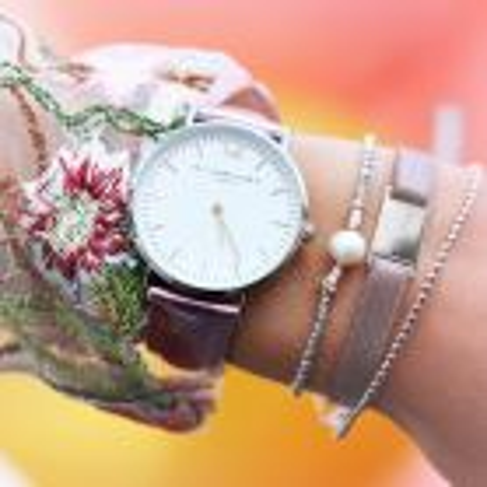 Horloge roze zilver
