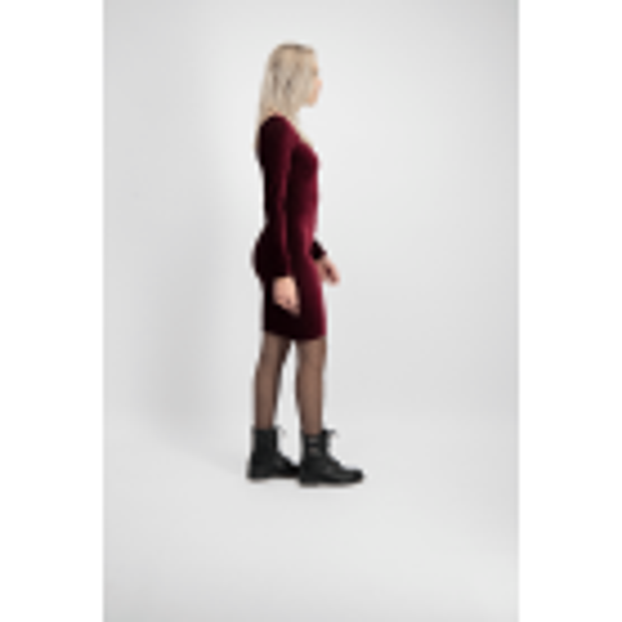 Bordeaux Rib Velvet Bodycon Dress