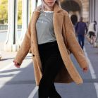 Long Teddy Coat Beige