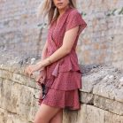 Dotted Layer Dress - Old Pink