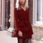 Red Longsleeve Dotted Layer Dress