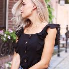 Ruffle Button Top - Black