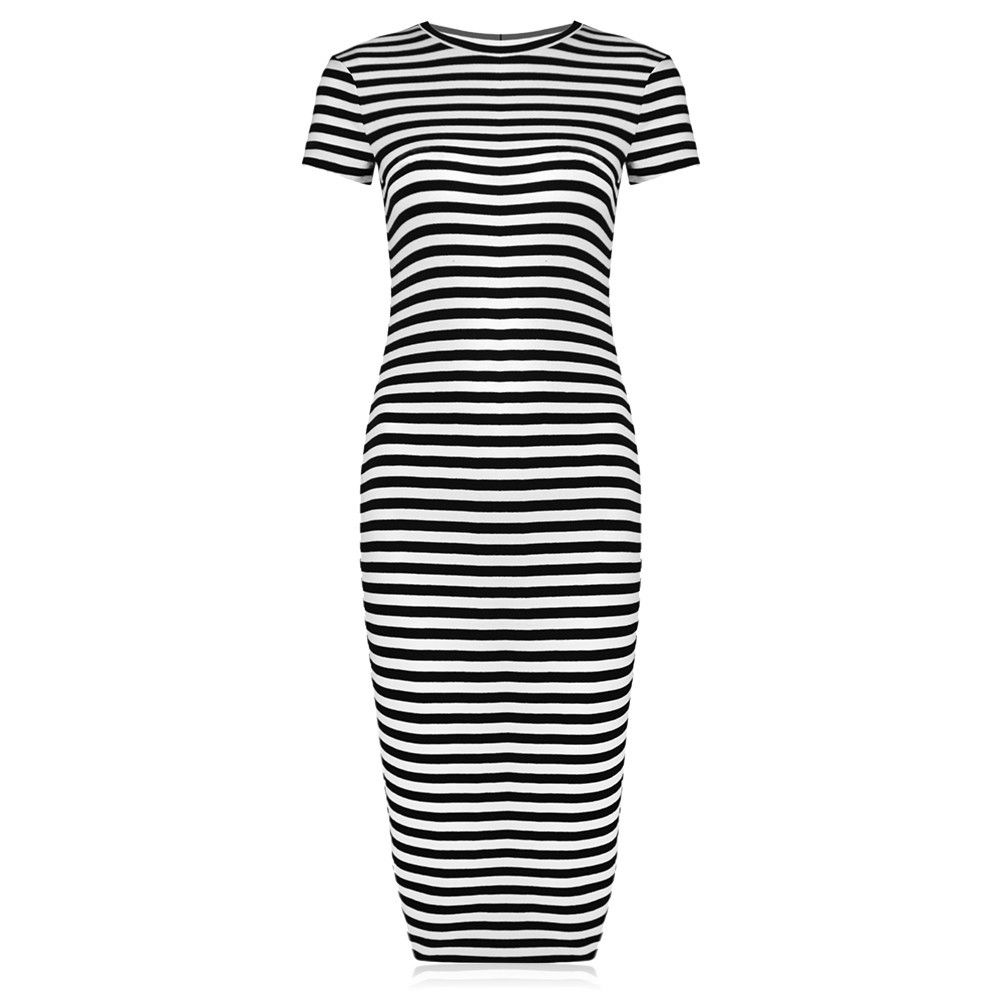 Striped Pencil Dress - black/white