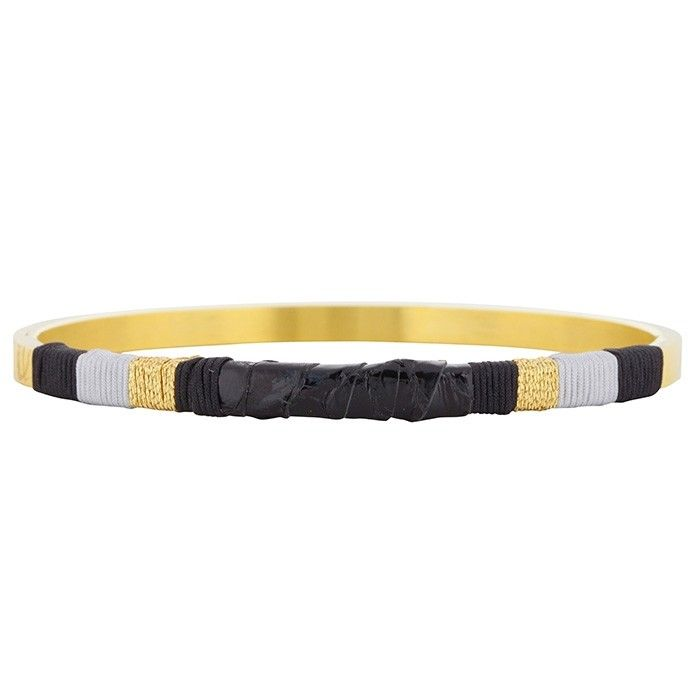 Leather Bangle Black - Silver/Gold/Rose-Goud