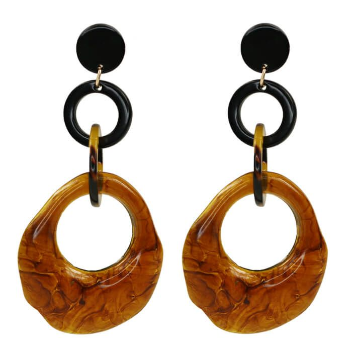 Oorbellen driedubbele ring bruin, Statement oorbellen