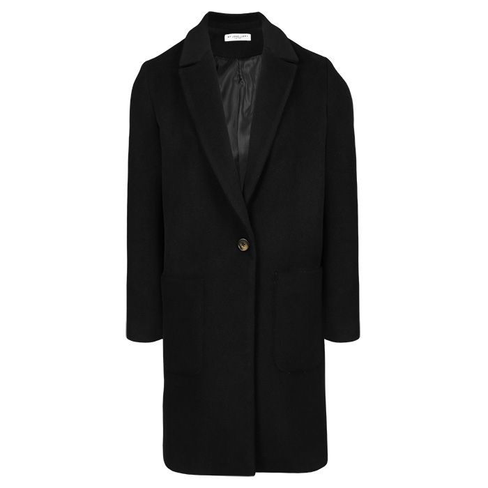 Zwarte klassieke mantel, winterjas My Jewellery