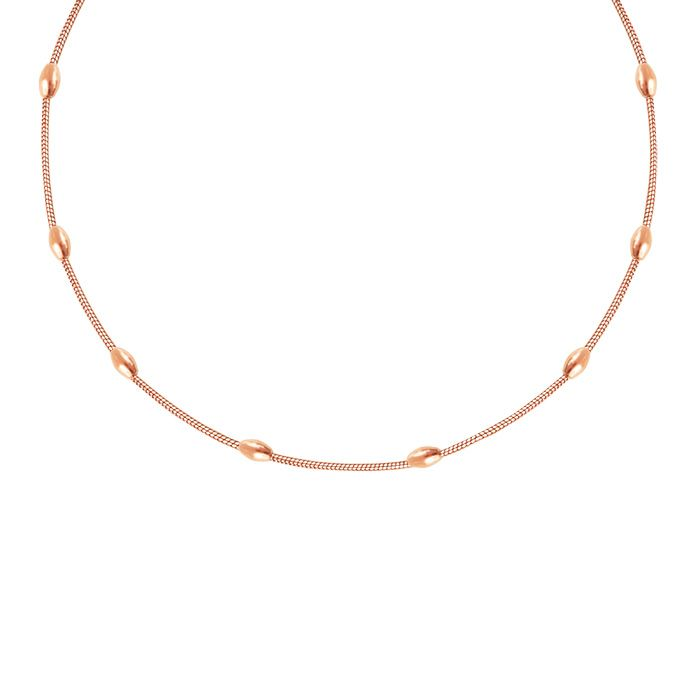 Oval Dots Necklace-Rose goud