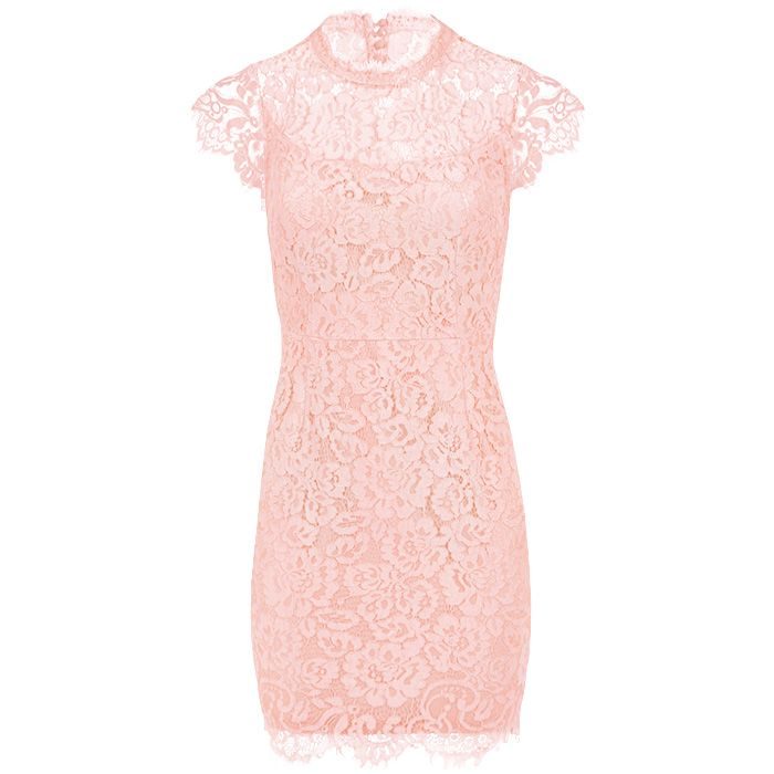 Voorkeur Kanten jurk lichtroze, jurk open rug, feestjurken #CH23