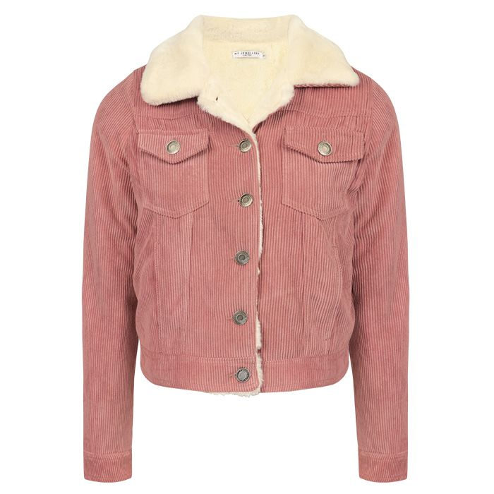 Roze rib jas met imitatiebont, corduroy jasje