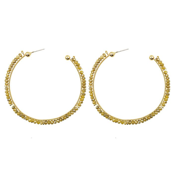 Gouden oorringen met gele kraaltjes My Jewellery