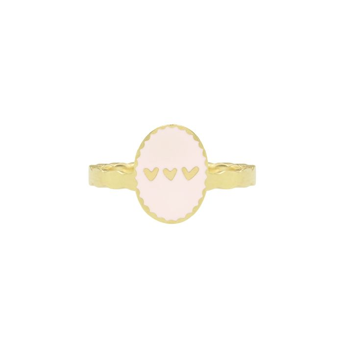 Ring bedel roze hartjes My Jewellery