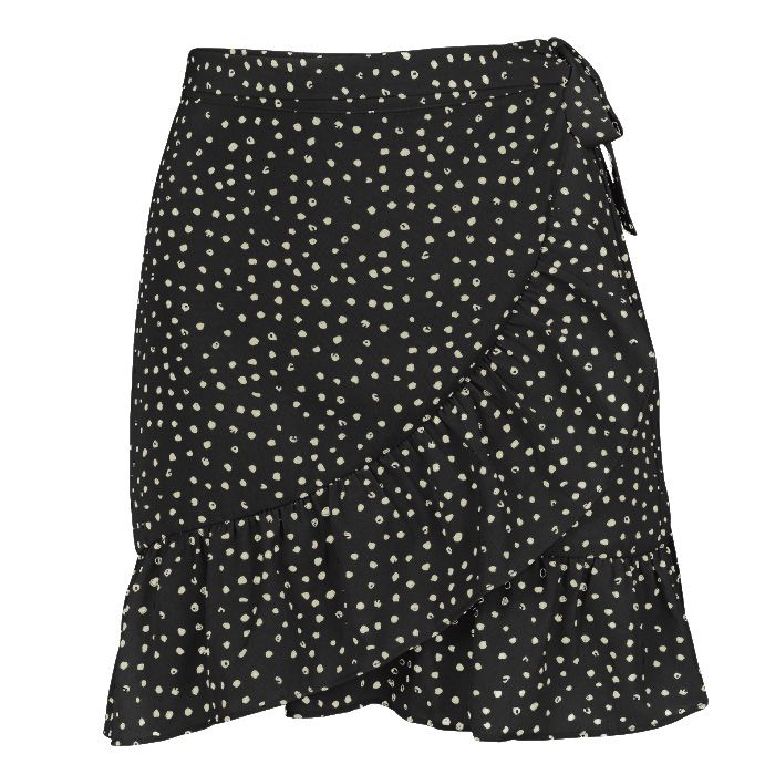 Dotted Wrap Skirt - Black