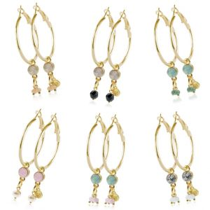 Crystal Hoops - Small - Gold