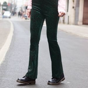 Flared Velvet Leopard Pants - Green/Black