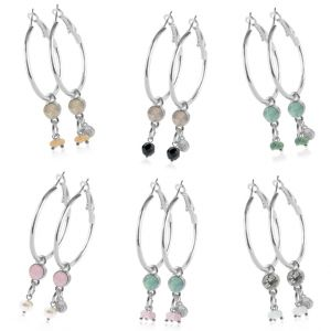 Crystal Hoops - Small - Silver