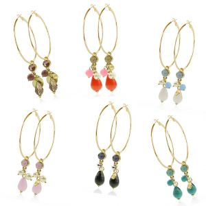 Crystal Hoops - XL- Gold