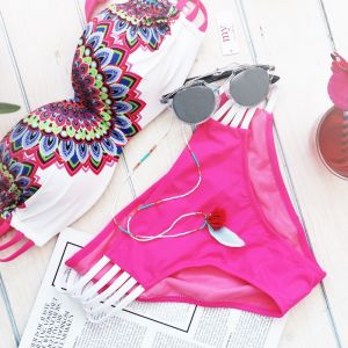 Pink Peacock Bikini Bottom