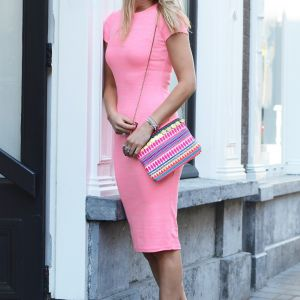 Pencil Dress - Neon Pink