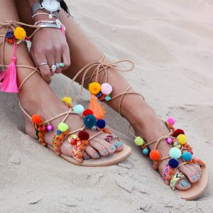 Multi Pompon Sandal - One of a kind