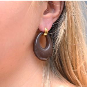 Chique Oval Earrings Brown