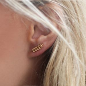 Feather Stud Earrings Gold/Silver/Rose