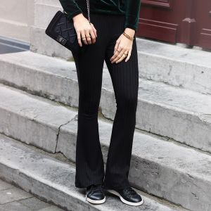 Flared Soft Pants - Black