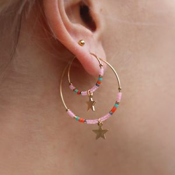 Medium Hoops Star & Beads Pink - Gold/Silver/Rose