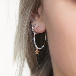 Medium Hoops Star & Beads White - Gold/Silver/Rose