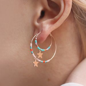 Medium Hoops Star & Beads Light Pink - Gold/Silver/Rose
