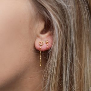 Little Dots Chain Earrings Extra Short 2.0 - Gold/Silver
