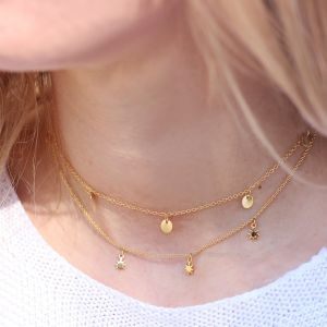 Tiny Necklace Coins Short - Gold/Silver