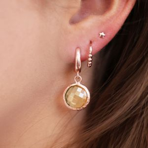 Round Stone Earrings Champagne - Silver/Rose