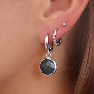 Round Stone Earrings Dark Grey - Silver/Rose