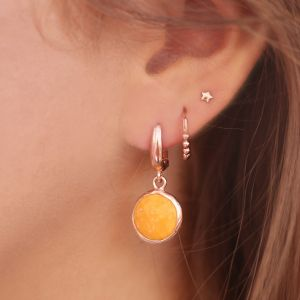 Round Stone Earrings Ocher - Silver/Rose