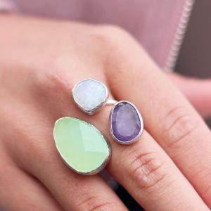 My Jewellery Gold Trio Gem Ring – Silver Green/Purple