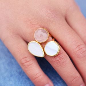 My Jewellery Gold Trio Gem Ring – Gold White/Taupe