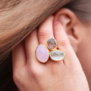 My Jewellery Gold Trio Gem Ring – Gold Pink/Brown