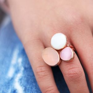 My Jewellery Gold Trio Gem Ring – Rose Pink/Peach