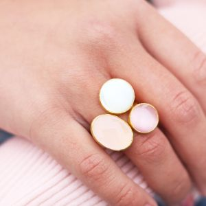 My Jewellery Gold Trio Gem Ring – Gold Pink/Peach