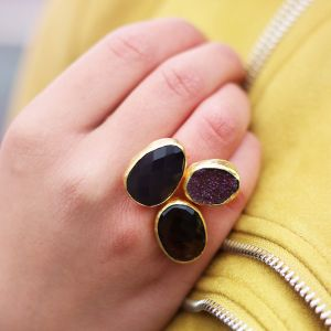 My Jewellery Gold Trio Drizzy Ring – Gold Black/Purple