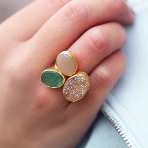 My Jewellery Gold Trio Drizzy Ring – Gold Dark Green/Champagne