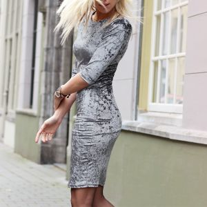Crushed Velvet Dress 2.0 - Grey