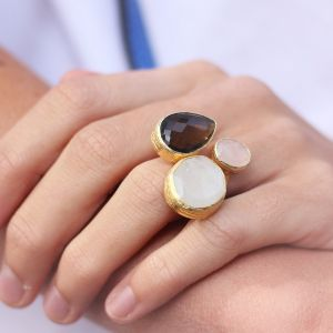 My Jewellery Gold Trio Gem Ring – Gold White/Brown