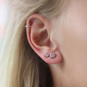 Stone Studs Pink – Silver/Gold