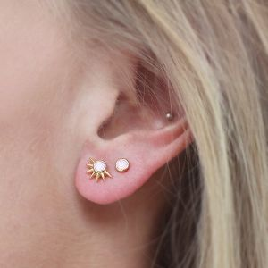 Stone Studs Light Pink – Silver/Gold