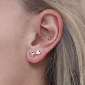 Spikes Studs Pink - Silver/Gold