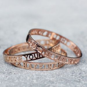 Love The Life You Live Open Bangle - Rose
