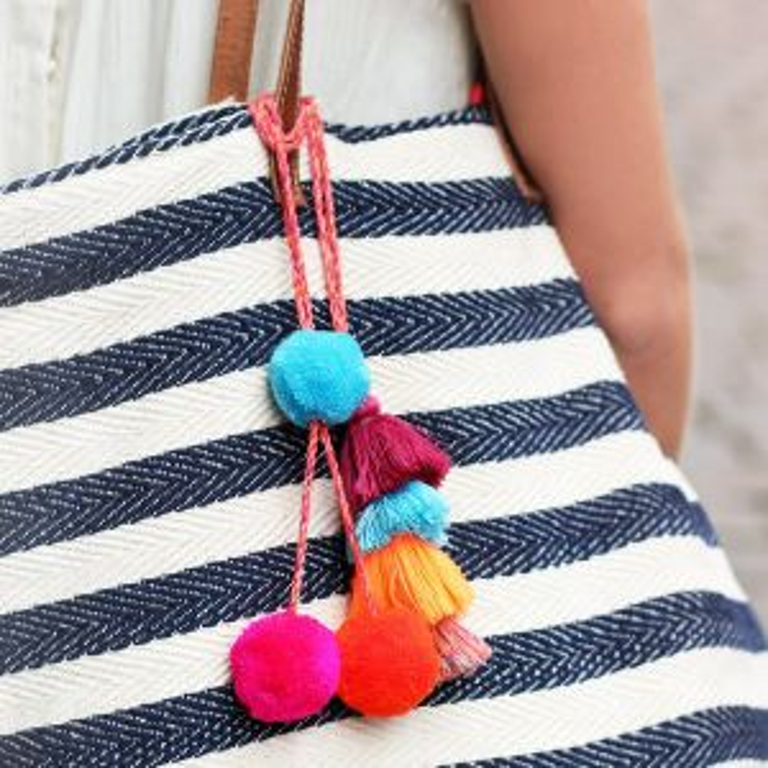 Pompon & Tassel Bag Accessory - Multicolor