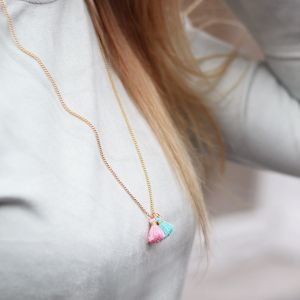 Gold Tassel Necklace - Pink/Blue/Orange
